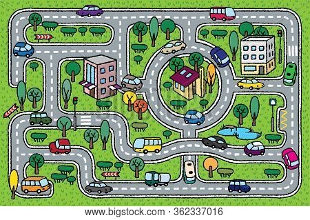 City Pattern. Roads, Cars, Grass Areas Background