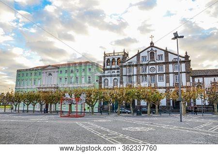 Ponta Delgada, Azores, Portugal - Jan 12, 2020: Cobbled Square In The Historical Center Of The Portu
