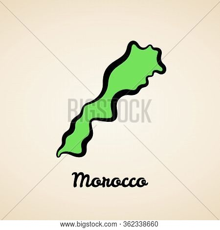 Green Simplified Map Of Morocco With Black Outline.