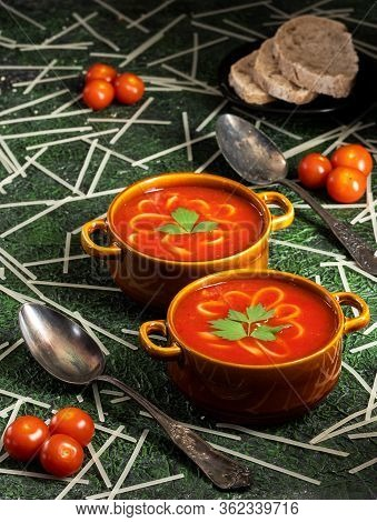 Tomato And Pepper Soup With Tagliatelle And Lovage