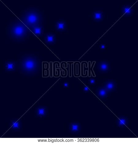 Illustration Of A Shining Star Or Flare, Many Rays From One Point . Blue Color Bright Lens Flare Ray