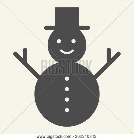 Snowman Solid Icon. Happy Winter Snowman With Hat And Scarf Glyph Style Pictogram On White Backgroun