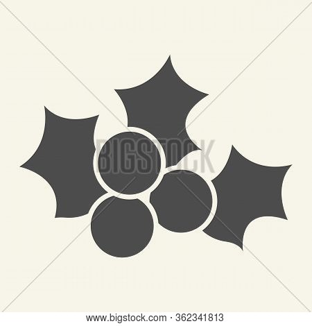 Mistletoe Solid Icon. Winter Holiday Berry Decor Glyph Style Pictogram On White Background. Christma