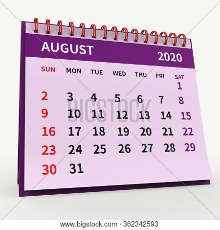 Standing Desk Calendar August 2020. Business Monthly Calendar With Red Spiral Bound, The Week Starts