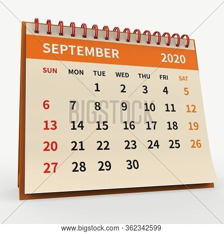 Standing Desk Calendar September 2020. Business Monthly Calendar With Red Spiral Bound, The Week Sta