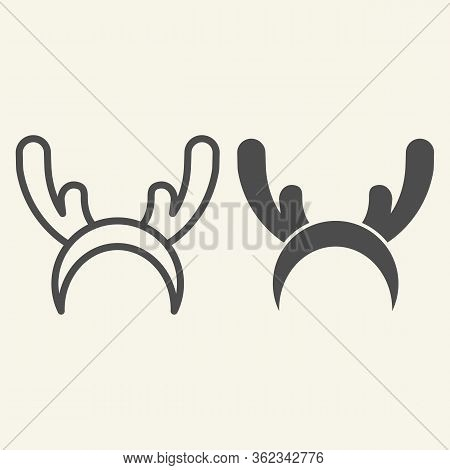 Deer Horns Cloth Line And Solid Icon. Reindeer Mask Outline Style Pictogram On White Background. Fun