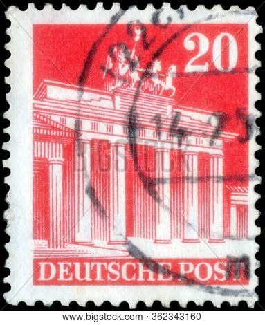 Saint Petersburg, Russia - April 21, 2020: Postage Stamp Printed In The Germany, Allied Occupation,