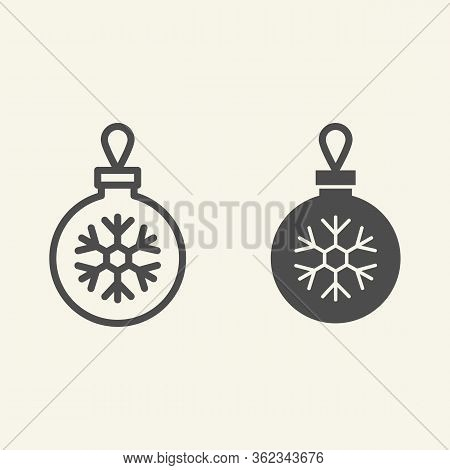 Christmas Ball Line And Solid Icon. Glass Tree Toy With Snowflake Outline Style Pictogram On White B