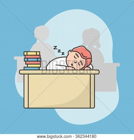 Concept Of Procrastination, Education. Tired Student Sleep On The Desk During Lecture In Univercity