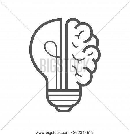 Brain Idea Icon. Light Bulb With Brain Vector Liner Icon, Idea Concept. Editable Stroke. Eps 10.