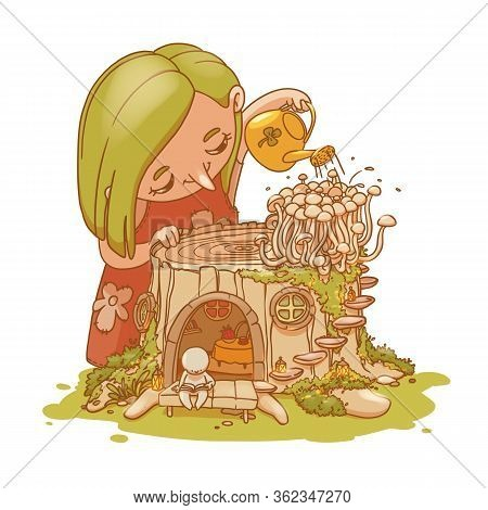 Colorful Hand Drawn Little Fairy Watering Mushrooms On A Small Stump House With Fairy Character. Ill