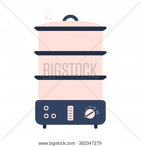Flat Electric Food Steamer Icon, Kitchen Appliance. Cute Blue And Pink Vector Kitchen Appliance, Equ