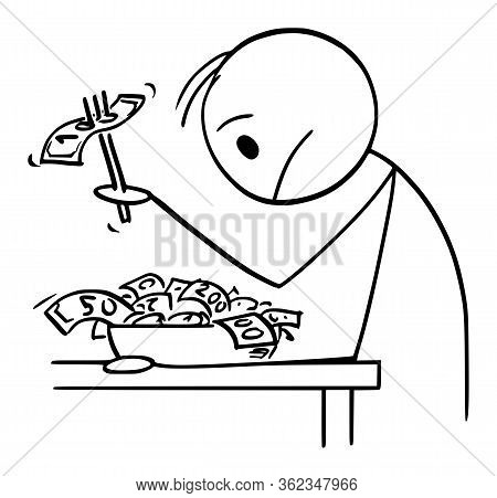 Cartoon Stick Figure Drawing Conceptual Illustration Of Rich Man Or Businessman With Cash On Plate,