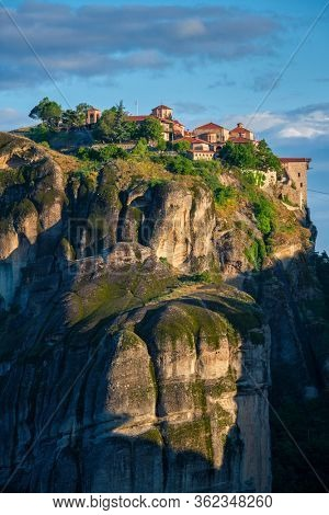 Great Meteoron Monastery perched on a cliff in famous greek tourist destination Meteora in Greece on sunrise