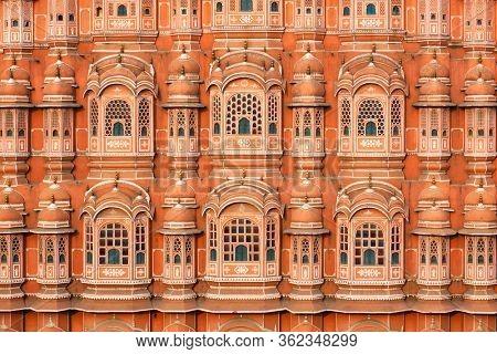 Famous Rajasthan Indian landmark - Hawa Mahal palace (Palace of the Winds) facade, Jaipur, Rajasthan, India