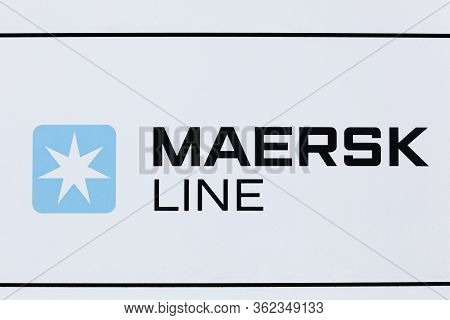 Esbjerg, Denmark - May 6, 2016: Maersk Line Sign On A Wall. Maersk Company Based In Copenhagen, Denm