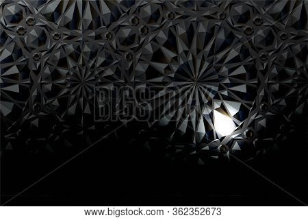 Black Embossed Background With A Luminous Element. Vector Illustration