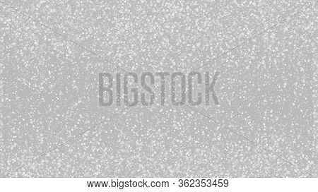 Falling Snow On Gray, Vector. Falling Snowflakes, Night Sky. Advertising Frame, New Year, Christmas