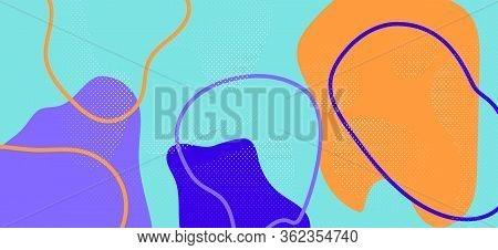 Bright Memphis Shapes. Modern Abstract Wallpaper. Futuristic Liquid Ornament. Multicolor Cool Patter
