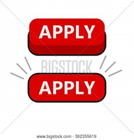 Cool Vector Apply Button With Cursor In Flat Design. Ideal For Web Form Submission, Campaign Partici