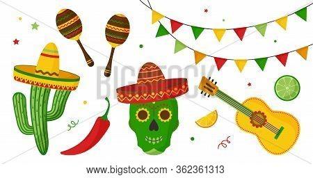 Cinco De Mayo Celebration In Mexico Icon Set, Collection Design Elements. Guitar, Maraca, Pepper, Sk