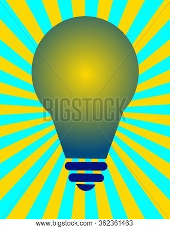 Light bulb with yellow and blue ray