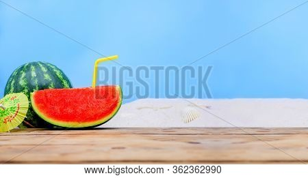 Tropical Beach Idea When Stay Home. Creative Minimal Summer Doliday Concept With Fresh Watermelon.