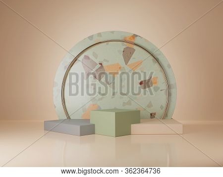 3d Terrazzo Stone Podium Display Set Mock Up With Copy Space For Banner.  Beige Green And Grey Minim