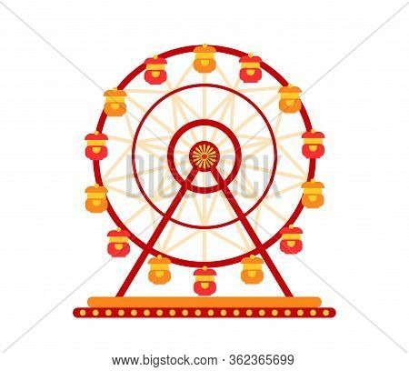 Carousel Ferris Wheel In Amusement Park Flat. Colorful Childrens Round Swing Cartoon Style. Attracti
