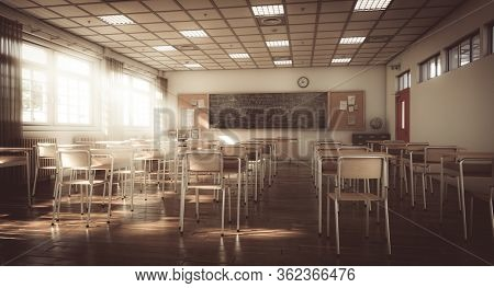 interior of a traditional primary school, wooden floor and elements, vintage and classic atmosphere. school and education concept. nobody around. 3d render.
