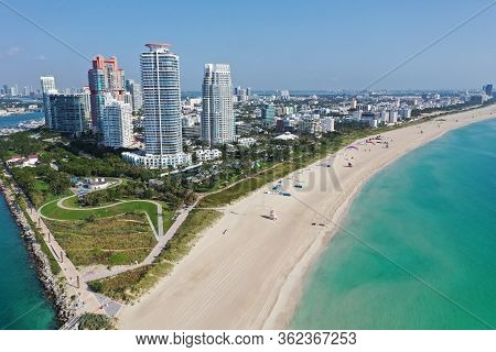 Aerial View Of South Pointe Park And South Beach In Miami Beach, Florida Devoid Of People Under Coro