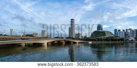 SINGAPORE CITY SINGAPORE: FEBRUARY 12 2020: Singapore Cityscape Financial building  in Marina Bay area Singapore at  Dusk