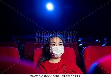 Sick Person Cinema Mask Watch Movie Public Virus