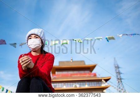 Asian Portrait Wearing Mask Temple Public Place