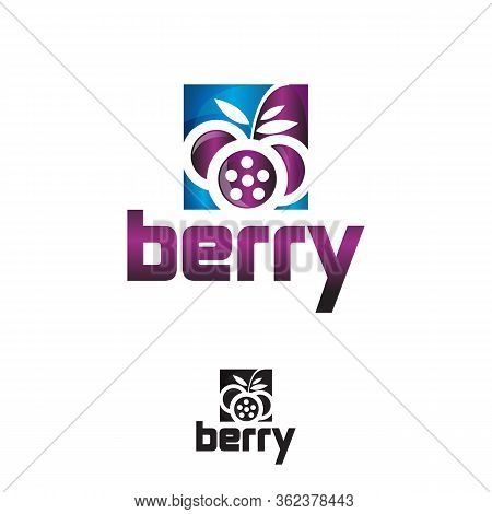 Berry Logo.vector Round Label Blueberry. Fruit And Berries From The Farm. Organic Food. Logo Blueber