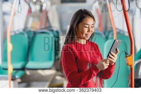 Asian Passenger Tramway Travel Portrait Happy Student