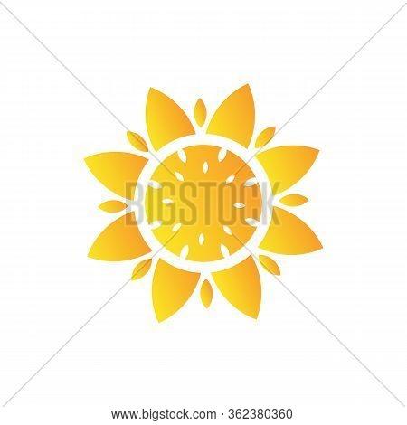 Sunflower Logo Icon Vector Illustration, Logo And Symbol Of Sunflower For Thanksgiving Day