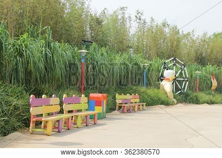 Hongkong - 19 September,2014: Beautiful And Colorful Benches In The Amusement Park