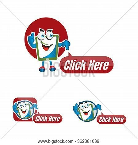 Click Here With Cartoon Icons. Hand Cursor Signs. Press Here Symbols. Circle Concept Web Buttons.