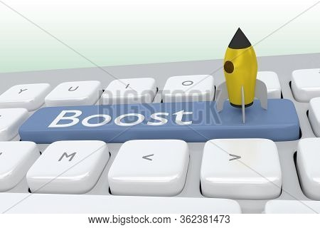 3d Illustration Of Computer Keyboard With The Script Boost On A Button Along With Boost Icon, And Pa