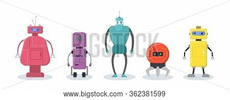 Robotic Characters Set. Colorful Humanoid Machines, Cyborg, Robots. Vector Illustration For Futurist