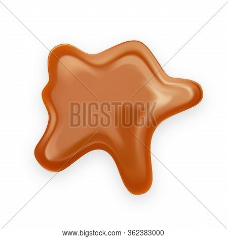 Caramel Toffee Delicious Creamy Splash Vector. Confectionery Toffee Dripped Liquid Dessert, Flow Mel