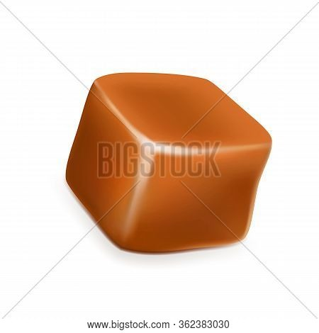 Caramel Toffee Candy Delicious Sugary Cube Vector. Smooth Pastry Toffee Golden Butterscotch Dessert.