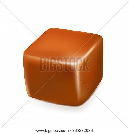 Caramel Toffee Candy Delicious Sweet Cube Vector. Confectionery Toffee Dessert. Homemade Condensed D