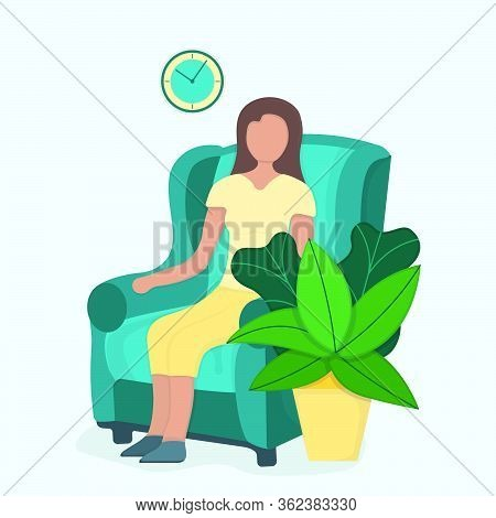 Character Female Sitting Chair With Green Leaf Pot, Woman Rest And Sleep Isolated On Pink, Flat Vect