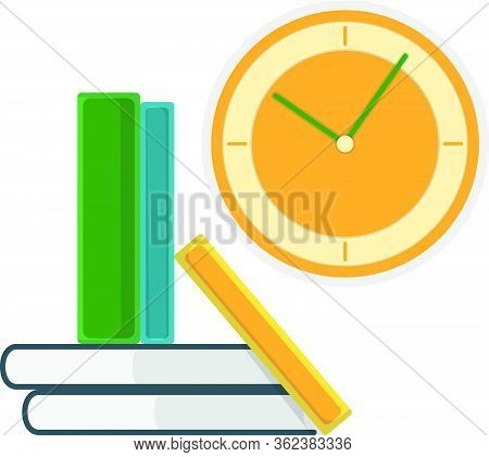 Green Book Stand With Textbook And Wall Watch Isolated On White, Flat Vector Illustration. Home Inte