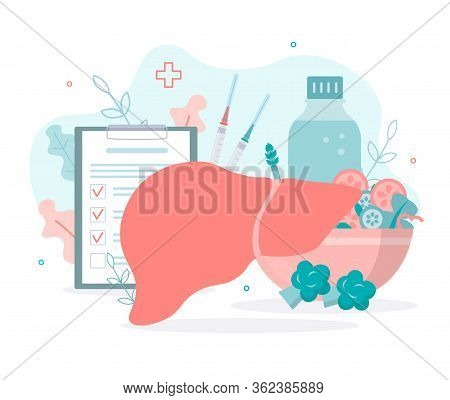 Liver Health Concept. Prevention Of Cirrhosis, Hepatitis. Vaccination. Medical Flat Vector Illustrat