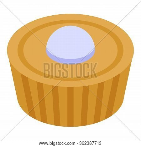 French Tasty Cupcake Icon. Isometric Of French Tasty Cupcake Vector Icon For Web Design Isolated On
