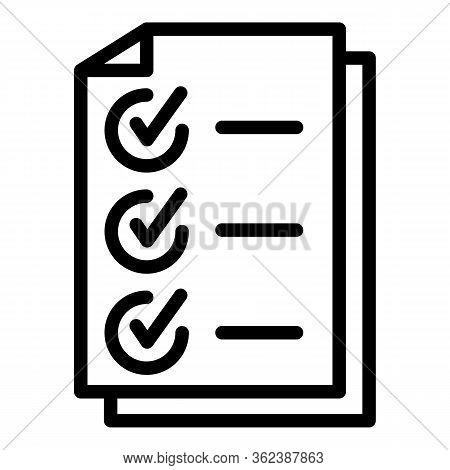 Headhunter Checkmark List Icon. Outline Headhunter Checkmark List Vector Icon For Web Design Isolate