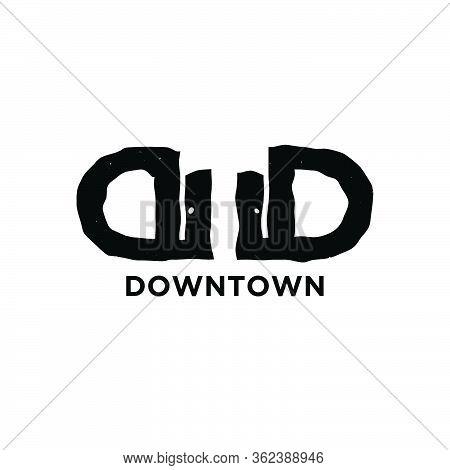 Initial Letter D Twin Down And Town Modern Logo Ideas. Inspiration Logo Design. Template Vector Illu